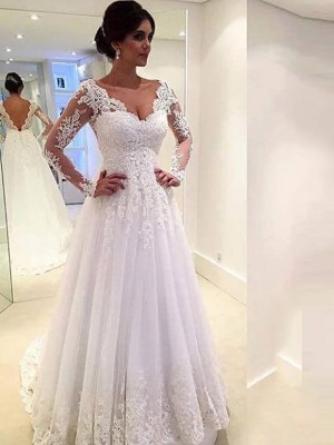 Ball Gown V-neck Long Sleeves Tulle Sweep/Brush Train Wedding Dresses