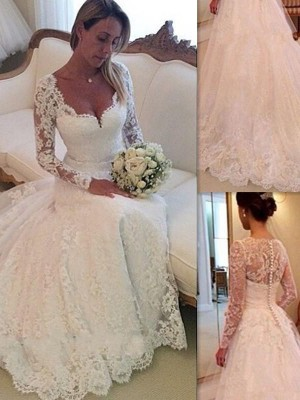 Ball Gown V-neck Sleeveless Tulle Court Train Wedding Dresses