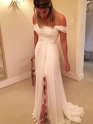 A-Line/Princess Off-the-Shoulder Sleeveless Chiffon Ruffles Sweep/Brush Train Wedding Dresses