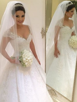 Ball Gown V-neck Sleeveless Tulle Beading Floor-Length Wedding Dresses