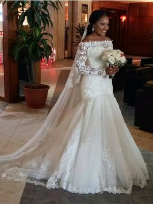 Trumpet/Mermaid Off-the-Shoulder Long Sleeves Tulle Sweep/Brush Train Wedding Dresses