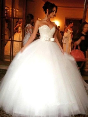 Ball Gown Sweetheart Sleeveless Tulle Bowknot Floor-Length Wedding Dresses