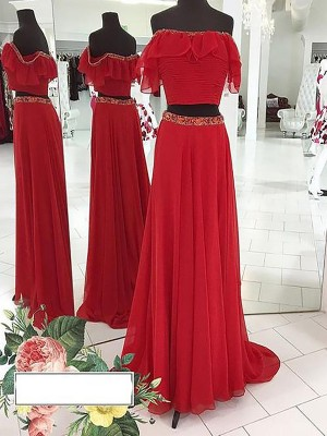 A-Line/Princess Off-the-Shoulder Sleeveless Chiffon Beading Floor-Length Dresses