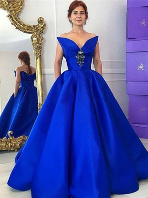 Ball Gown V-neck Sleeveless Satin Ruffles Floor-Length Dresses