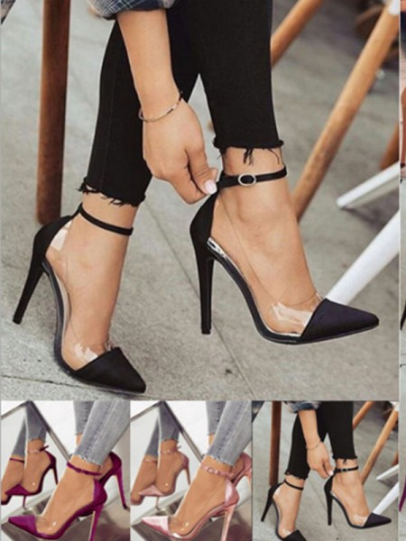 PU Stiletto Heel Closed Toe Women's High Heels