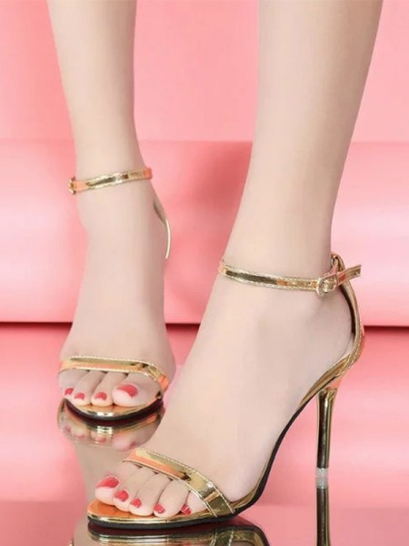 Patent Leather Stiletto Heel Peep Toe Women's Sandals