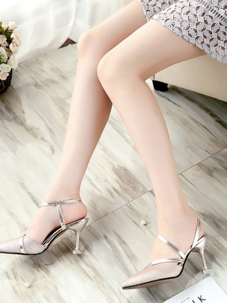 Ladies's PU Stiletto Heel Closed Toe Sandals