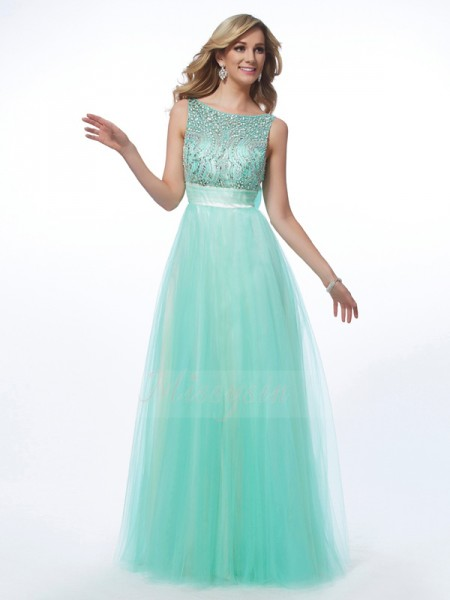 A-Line/Princess Sleeveless Beading Net Bateau Floor-Length Dresses
