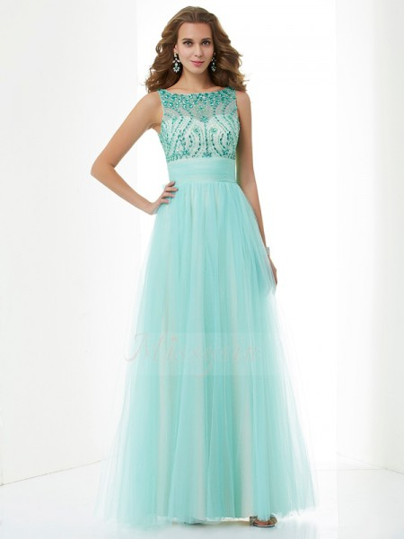 A-Line/Princess Sleeveless Beading Elastic Woven Satin,Net Bateau Floor-Length Dresses