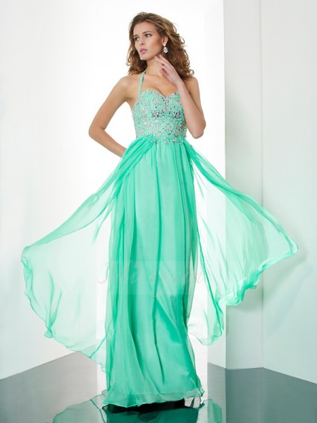 A-Line/Princess Sleeveless Beading,Applique Chiffon Halter Sweep/Brush Train Dresses