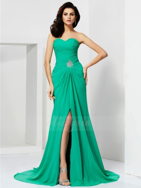 Sheath/Column Sleeveless Beading Chiffon Sweetheart Sweep/Brush Train Dresses