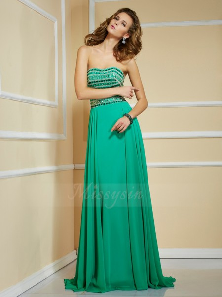 A-Line/Princess Sleeveless Rhinestone Chiffon Strapless Sweep/Brush Train Dresses