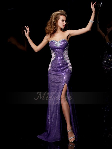 Sheath/Column Sleeveless Beading Elastic Woven Satin,Lace,Sequins Sweetheart Sweep/Brush Train Dresses