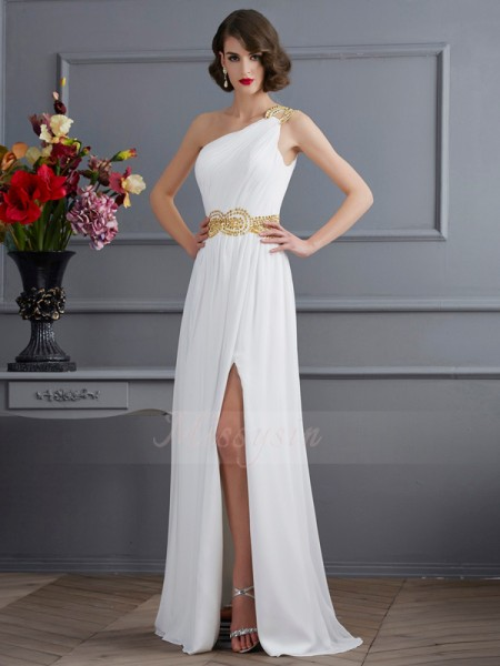 A-Line/Princess Sleeveless Ruched Chiffon One-Shoulder Sweep/Brush Train Dresses