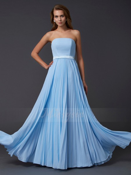 A-Line/Princess Sleeveless Ruched Chiffon Strapless Floor-Length Dresses