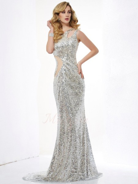 Trumpet/Mermaid Sleeveless,Paillette Lace,Sequins One-Shoulder Sweep/Brush Train Dresses