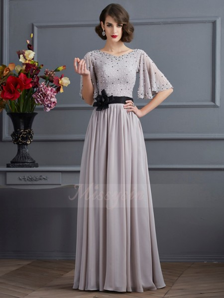 A-Line/Princess 1/2 Sleeves Beading Chiffon High Neck Floor-Length Dresses