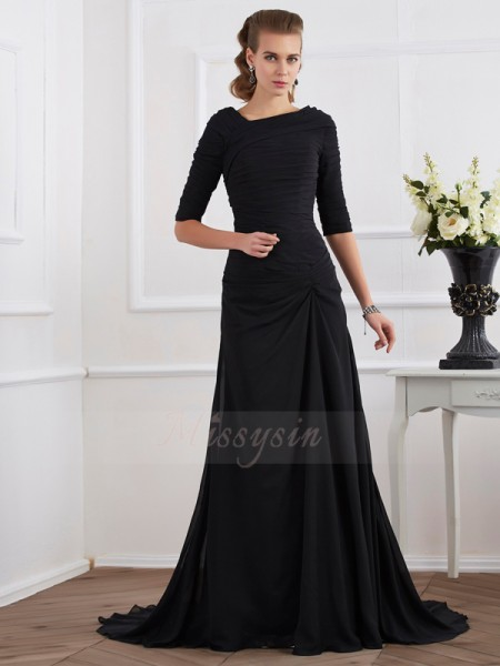 A-Line/Princess 1/2 Sleeves Pleats Chiffon Other Sweep/Brush Train Dresses