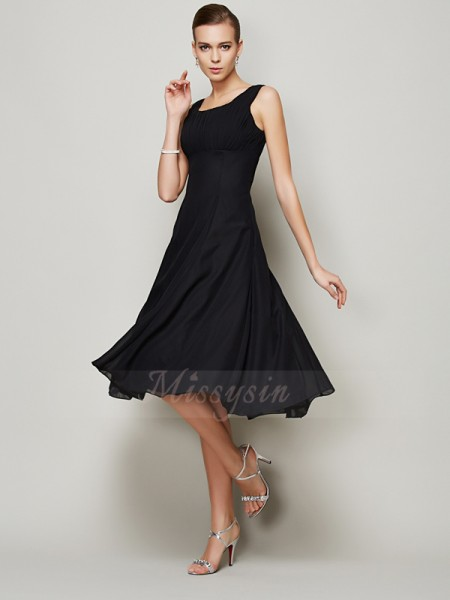 A-Line/Princess Sleeveless Pleats Chiffon Straps Knee-Length Dresses