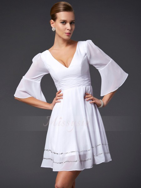 A-Line/Princess 1/2 Sleeves Beading Chiffon V-neck Short/Mini Dresses