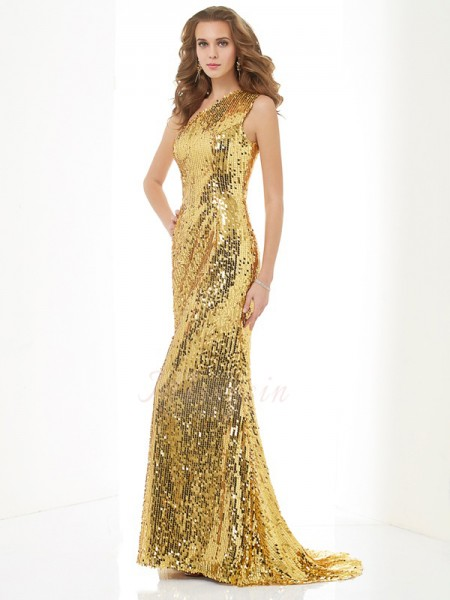 Sheath/Column Sleeveless,Sequin Lace,Sequins One-Shoulder Sweep/Brush Train Dresses