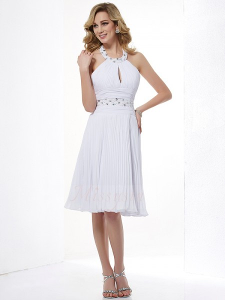 A-Line/Princess Sleeveless Beading Chiffon Halter Knee-Length Dresses