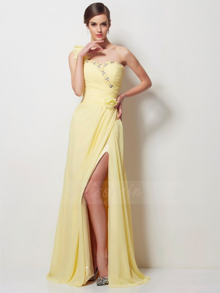 A-Line/Princess Sleeveless Beading Chiffon One-Shoulder Floor-Length Dresses