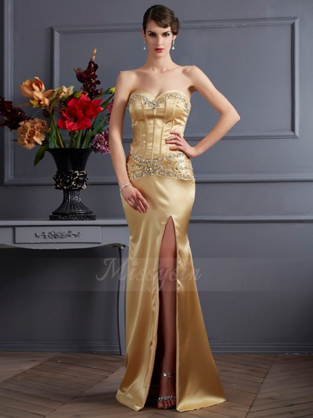 Sheath/Column Sleeveless Beading Elastic Woven Satin Sweetheart Sweep/Brush Train Dresses