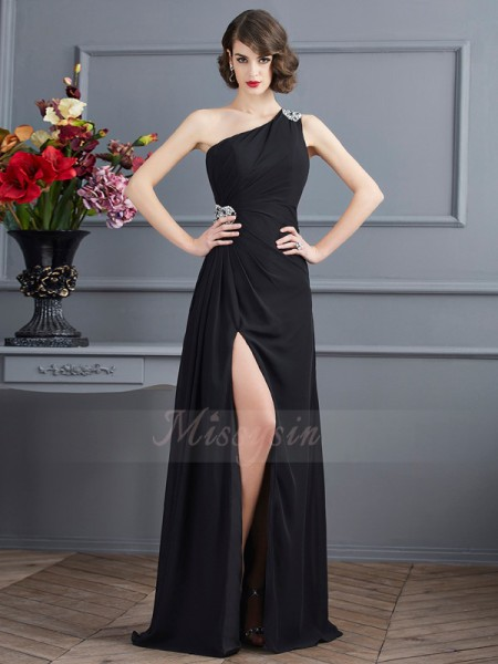 Sheath/Column Sleeveless Beading Chiffon One-Shoulder Floor-Length Dresses