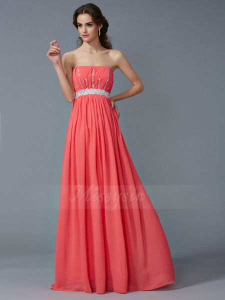 A-Line/Princess Sleeveless Beading Chiffon Strapless Floor-Length Dresses