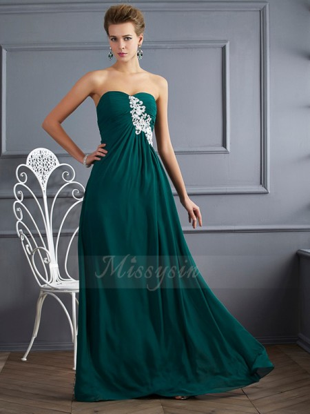 Sheath/Column Sleeveless Beading Chiffon Sweetheart Floor-Length Dresses