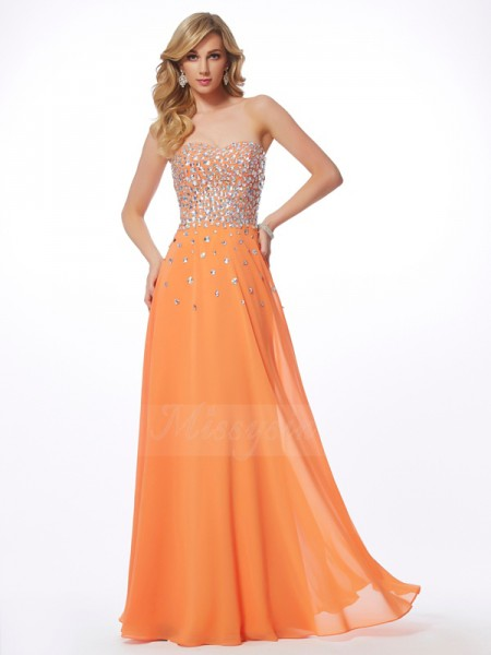 A-Line/Princess Sleeveless Rhinestone Chiffon Sweetheart Floor-Length Dresses