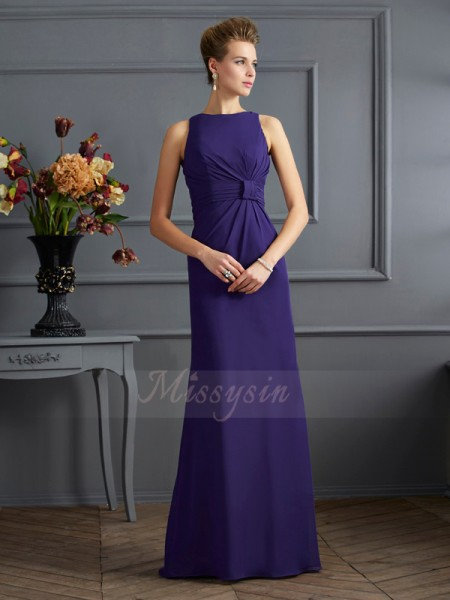 Sheath/Column Sleeveless Pleats Chiffon Bateau Floor-Length Dresses