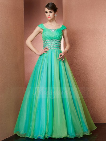 Ball Gown Sleeveless Beading Satin Off-the-Shoulder Floor-Length Dresses