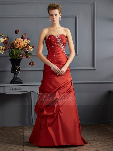 Trumpet/Mermaid Sleeveless Beading Taffeta Sweetheart Floor-Length Dresses