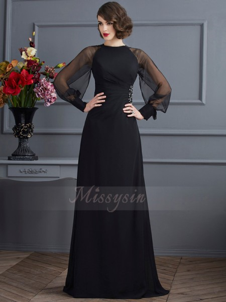 Sheath/Column Long Sleeves Beading Chiffon Scoop Sweep/Brush Train Dresses