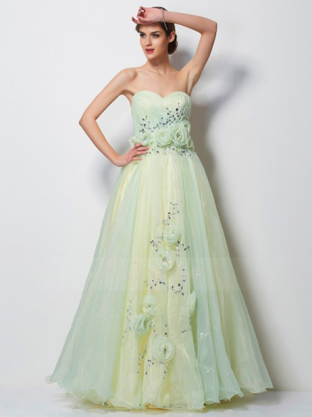 A-Line/Princess Sleeveless Hand-Made Flower,Beading Satin,Tulle Sweetheart Floor-Length Dresses