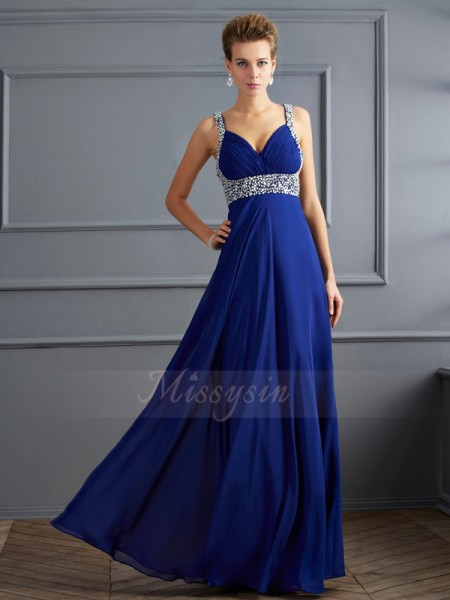 Sheath/Column Sleeveless Beading Chiffon Straps Floor-Length Dresses
