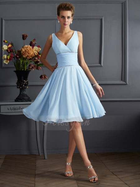 A-Line/Princess Sleeveless Pleats Chiffon V-neck Knee-Length Bridesmaid Dresses