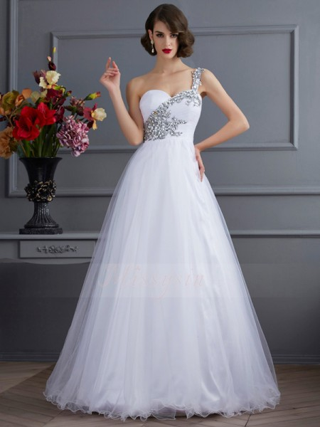 Ball Gown Sleeveless Beading,Applique Elastic Woven Satin One-Shoulder Floor-Length Dresses