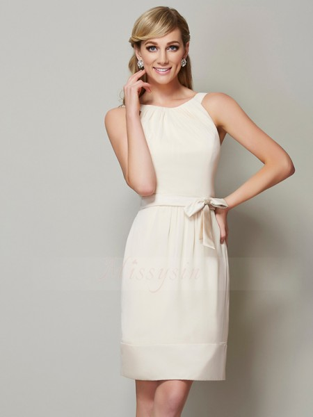 Sheath/Column Sleeveless Chiffon Scoop Knee-Length Bridesmaid Dresses