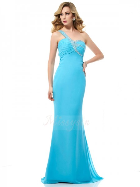 Trumpet/Mermaid Sleeveless Beading Chiffon One-Shoulder Sweep/Brush Train Dresses
