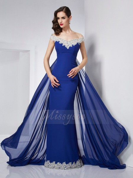 Trumpet/Mermaid Sleeveless Applique Chiffon Off-the-Shoulder Floor-Length Dresses
