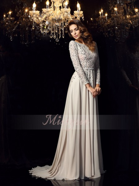 A-Line/Princess Scoop Chiffon Beading Long Sleeves Court Train Dresses