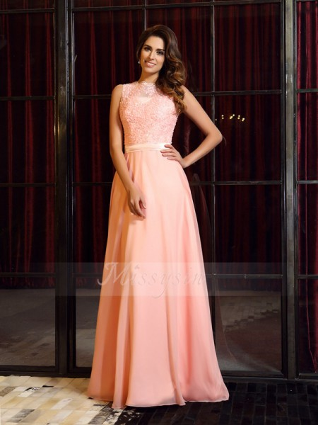 A-Line/Princess High Neck Chiffon Applique Sleeveless Sweep/Brush Train Dresses