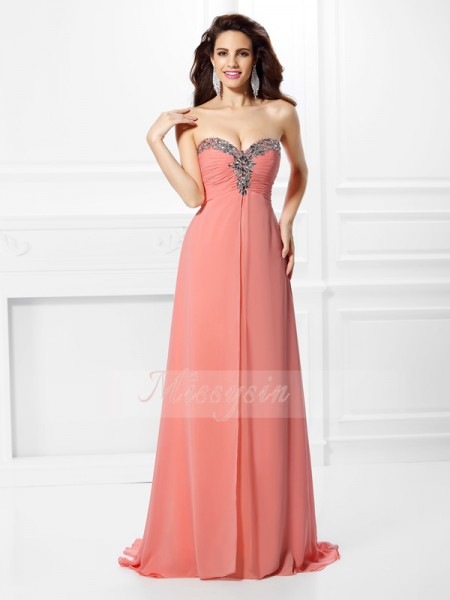 A-Line/Princess Sweetheart Chiffon Beading Sleeveless Sweep/Brush Train Dresses