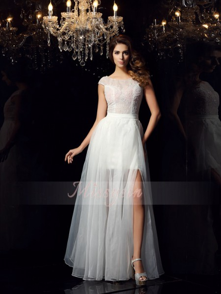 A-Line/Princess Scoop Tulle Beading Short Sleeves Floor-Length Dresses