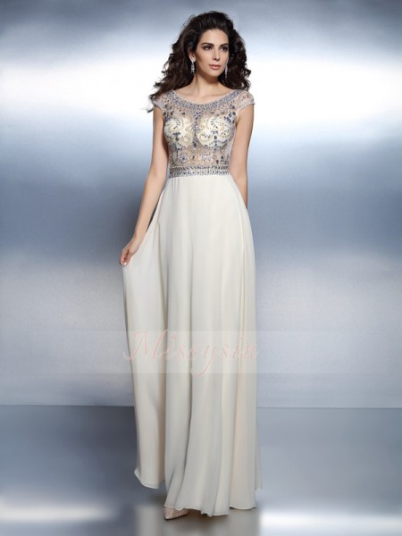 A-Line/Princess Bateau Chiffon Beading Short Sleeves Floor-Length Dresses