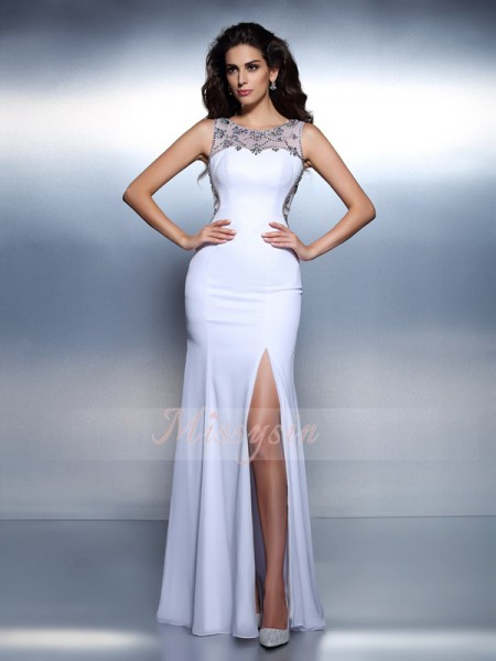 Trumpet/Mermaid Bateau Chiffon Beading Sleeveless Floor-Length Dresses