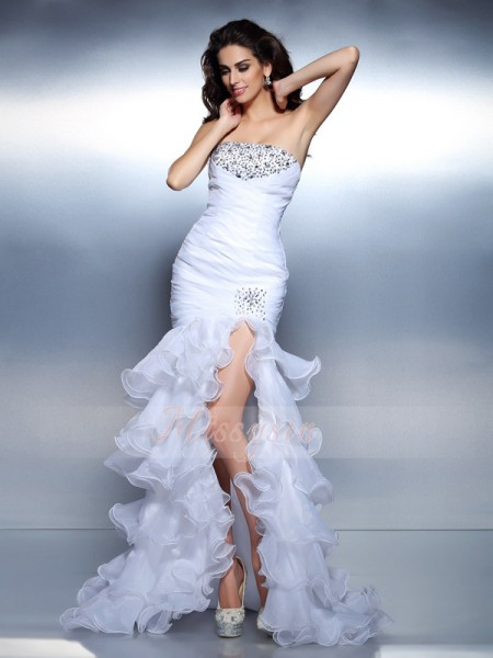Trumpet/Mermaid Strapless Organza Beading,Ruched Sleeveless Floor-Length Dresses